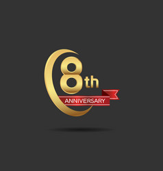 8 years anniversary logo style with swoosh ring vector