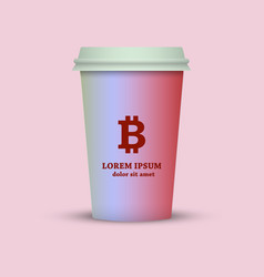 A coffee cup with a bitcoin sign vector
