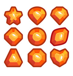 a set of orange emblems of precious stones vector image