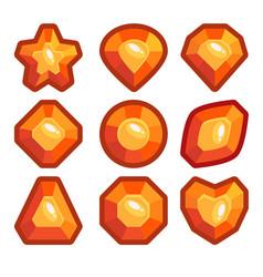 a set of orange emblems of precious stones vector image