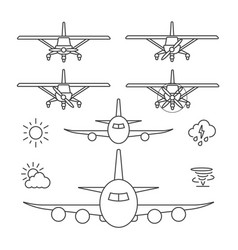 Airplane icons line icon vector