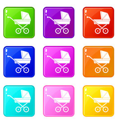 Baby carriage set 9 vector