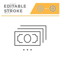 banknote editable stroke line icon vector image