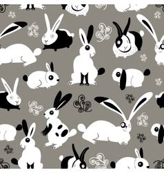 Beautiful pattern with rabbits vector image