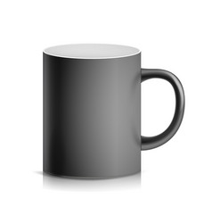 Black cup mug 3d realistic ceramic or vector