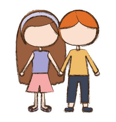 Blurred colorful faceless couple kids in casual vector