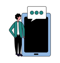 businessman with speech bubble mobile vector image