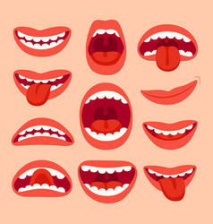 Cartoon mouth elements collection show tongue vector