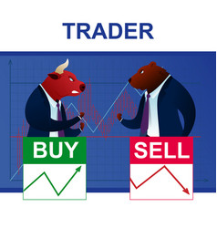 Character bull and bear conflict trader analysis vector