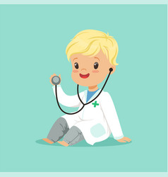Cheerful toddler boy in white medical gown playing vector
