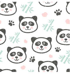 Childish seamless pattern with cute panda and vector