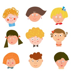 Children funny faces set vector image