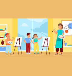 children painting with teacher drawing lesson vector image