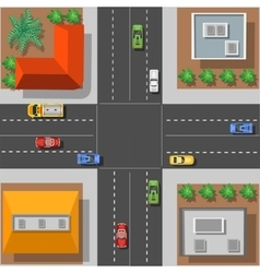 City intersection with rooftops vector