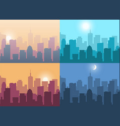 cityscape city view at night or at sunrise and vector image
