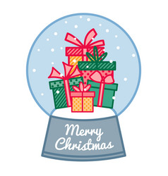 Colorful gift boxes in christmas snowball with vector