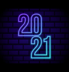 colorful neon 2021 happy new year neon banner vector image