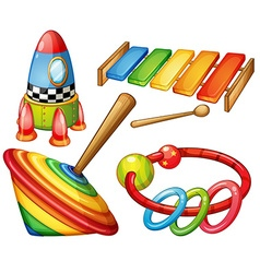 Colorful wooden toys set vector