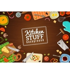Cooking Background With Kitchen Stuff vector image