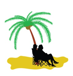 Couple silhouette under the palm tree vector