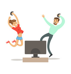 couple with joysticks jumping winningpart of vector image