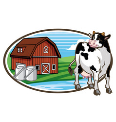 Cow and the farm land at the background vector
