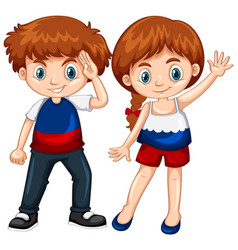 cute boy and girl waving hands vector image