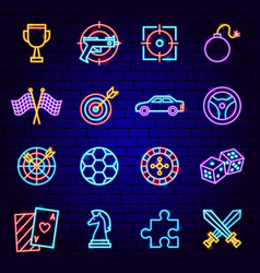 Cyber sport neon icons vector