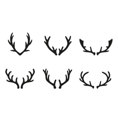 Deer antlers black icons set vector