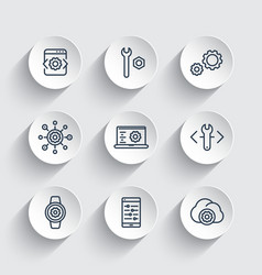 development engineering setting line icons set vector image
