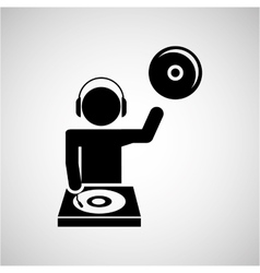 dj icon silhouette design vector image