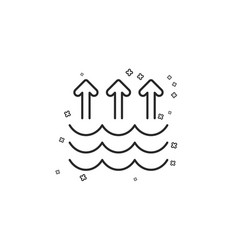 Evaporation line icon global warming sign vector