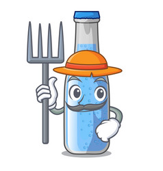 Farmer soda water and ice cubes cartoon vector