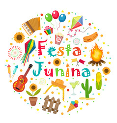 Festa junina set of icons in a round shape vector