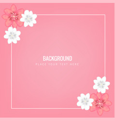 flower square frame pink background image vector image