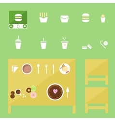 food Icons set fastfood and tradition dishes vector image