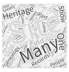 genealogy web site Word Cloud Concept vector image