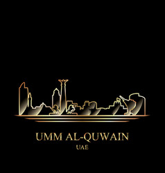 gold silhouette of umm al-quwain on black vector image