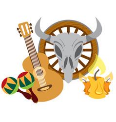 Guitar maracas cow skull on a wheel color of a vector