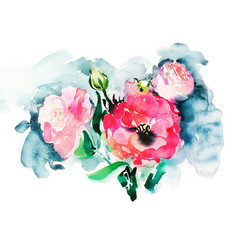 Handmade watercolor painting of pink roses vector