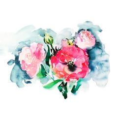 handmade watercolor painting pink roses vector image