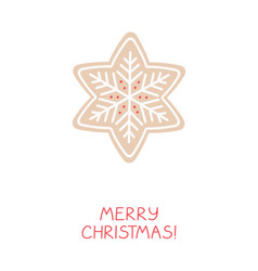 holiday greeting card with gingerbread snowflake vector image