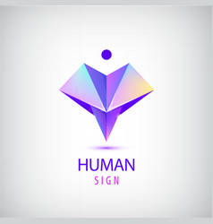 human logo sign origami shiny modern man vector image