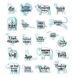 hunting icons with animals or birds lettering vector image