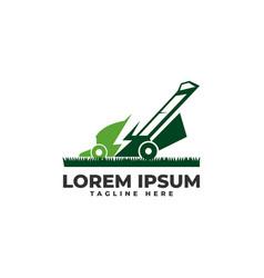Lawn mower power electrically logo icon vector