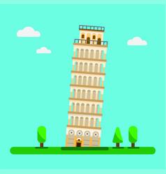 leaning tower pisa flat design vec vector image