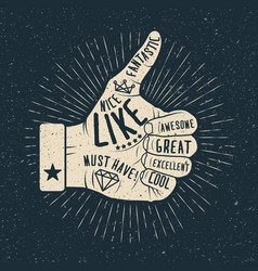 Like hand vintage styled vector