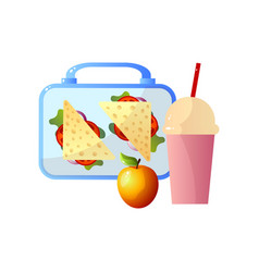 lunch box with healthy food sandwiches apple and vector image