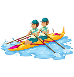 Man canoe on white background vector
