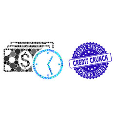 Mosaic credit icon with textured credit crunch vector